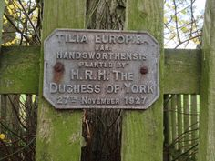 Plaque from one of the Lime Trees in the Lime Tree Walk at Goldsborough Hall was planted by HRH the Duchess of York in 1927. She went on to become Queen Elizabeth and later Queen Elizabeth, the Queen Mother