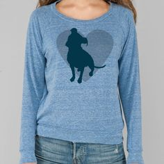 Eco Royal Pit Bull Heart Eco Heather Slouchy Pullover. $38.00 #dogparkpublishing http://www.dogparkpublishing.com/product_info.php/eco-royal-pit-bull-heart-eco-heather-slouchy-pullover-p-962?osCsid=1c72594175603e9df8190527a0525b78