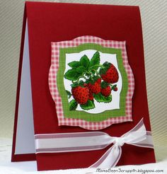 Strawberries Rubber Stamp card project