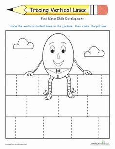 Preschool Fine Motor Skills Worksheets: Tracing Vertical Lines