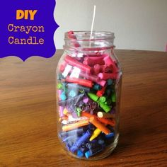 DIY crayon candle00*2 boxes of crayons (I didn't use the browns, grays, or blacks)  *mason jar (I pictured two thinking I had enough crayons for both but didn't)  *Waxed wick (found that at Hobby Lobby)  **Preheat oven to 200 degrees.** Make sure and pack the crayons in so you leave as little open space as possible.  This really isn't that important if you don't plan to melt the crayons