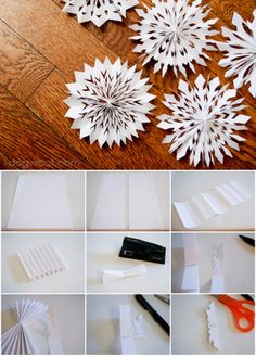 DIY Medallion or Pleated Snowflakes #tutorial #Winter #Christmas
