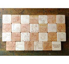 ABC Building Blocks with Wood Box, educational alphabet letters Montessori Reggio Emilia reading writing wood toy. $95.00, via Etsy.