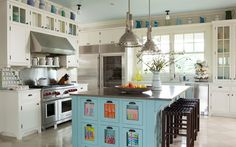beach houses, candi, robin egg blue, cabinet, colorful kitchens