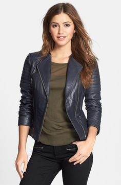 Marc New York Channel Quilt Leather Moto Jacket | Nordstrom