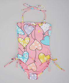 Look what I found on #zulily! Pink Heart Balloon Halter One-Piece - Toddler & Girls by Planet Sea #zulilyfinds