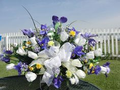 Purple Iris Yellow Cemetery Flowers Tombstone Saddle Mothers Day Grave Memorial