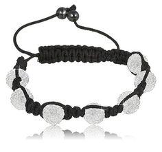 $9.99 - 10mm White Crystal 9-Ball Adjustable Bead Bracelet