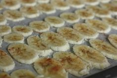 """Baked Banana Chips - toddlers love these! Slice bananas very thin (1/8""""), brush with lemon juice mixed with just a little water, sprinkle with cinnamon and kosher salt. Bake at 250F for about 2 hours, turning after 90 mins. Let cool (the longer they cool the crispier they become). Smear a little peanut butter between them if you like. Perfect sweet little treat!"""