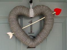 Valentine wreath...precious! - Heart (sticks, hot glue, & spray paint)