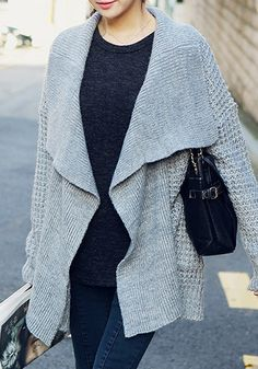grey open front knit