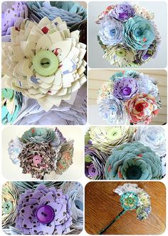 12 stem bouquet, handmade paper flowers - yanadesigns.com