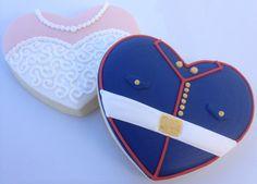 Bride and Groom Marine Corps Heart Wedding Cookies