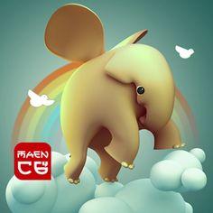 elephant fly happy on sky