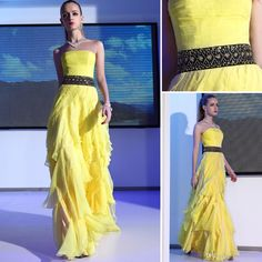 Cheap Plus Size Dresses - Discount Plus Size Chiffon Strapless Yellow Sleeveless Waistline Sequins And Rhinestone Floor Length Evening Gowns...