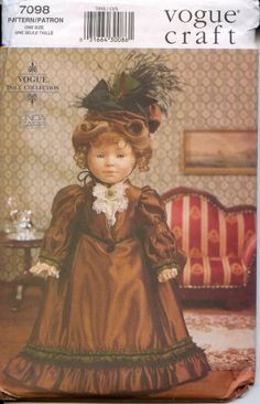 Vogue 7098 Pattern doll dress with bustle for 18 inch doll such as American Girl  on EBAY 6/20/14  starting bid $4.99