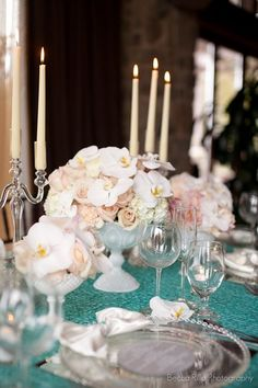 Stunning centerpieces! Romantic Blush & Teal Styled Shoot | Photo by http://beccarillo.com Floral design by http://egfloraldesign.com Event rentals by http://a-1eventrentals.net Venue http://tpcvalencia.com Invitations & calligraphy by http://calligraphykatrina.com