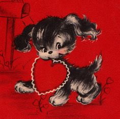 1950s Hallmark Vintage To Daughter and Her Husband on Valentine's Day Greetings Card (B7).