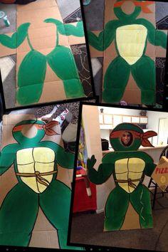 DIY cardboard cut out. Tmnt. Ninja turtles party.