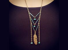 Turquoise Necklace - Chevron Necklace - Feather Necklace - Tribal Necklace - Native American Necklace - Boho Necklace - Breastplate Necklace...
