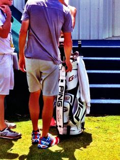 Logan Lee was impressed with the patriotic theme of Bubba Watson's caddie's shoes on Saturday.