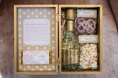Wedding welcome kit with snacks and mini Verdi champagne. Photography by Carla Ten Eyck / carlateneyck.com, Event Design by Jubilee Events / eventjubilee.com, Floral Design by Hana Floral Design / hanafloraldesign.com, Fashion by The White Dress by the shore / thewhitedressbytheshore.com