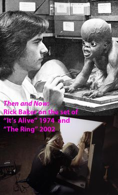 """Then and Now:  Rick Baker on the set of """"It's Alive"""" in 1974 and """"The Ring"""" in 2002.  #rickbaker  #itsalive  #thering  #moviemakeup  #horror  #behindthescenes"""
