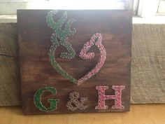 Browning heart string art with initials available at www.facebook.com/blossomsandknots