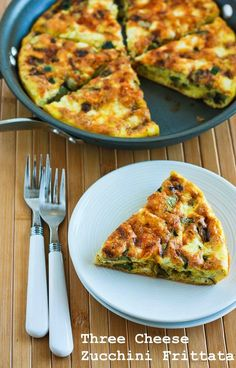 Recipe for Three Cheese Zucchini Frittata with Mozzarella, Feta, and Parmesan; this is a nice meal for breakfast, lunch, or dinner!  [from Kalyn's Kitchen] #LowCarb  #GlutenFree
