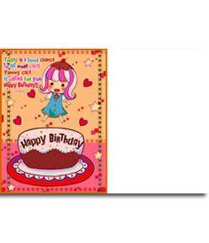 Tarjeta de cumpleaños para niños. Con una foto de una niña con un pastel, corazones y estrellas. www.fotoefectos.com