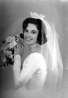 """Mary Susan gets Mary Susan gets married. My mom's wedding photo circa 1965. 18 years old... 18 inch waist."""