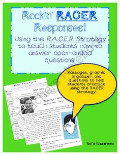 RACER Strategy Bundle!  from Kel's Klassroom on TeachersNotebook.com -  (16 pages)  - RACER and open-ended questions