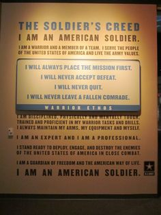 The Soldier's Creed on a wall at the Infantry Museum in Fort Benning, GA