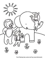 Children will enjoy coloring this animal scene from Monkey See, Look at Me by Lorena Siminovich. http://www.teachervision.fen.com/coloring-pages/printable/73204.html #prek