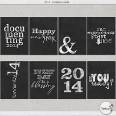 Free 2014 Chalked Filler Cards for Project Life from Dunia Designs {on Facebook}