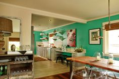 turquoise and bright art dining rooms, kitchen accents, turquoise blue, interior design, color, green kitchen, chic interiors, beach styles, accent walls