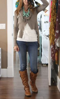 Statement necklace--the other peices are wardrobe staples. Love this woman's blog!