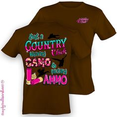 Girlie Southern Country Chick Wearing Camo & Packing Ammo T-Shirt in Coffee camo chick, wear camo, mobiles, coffee, country