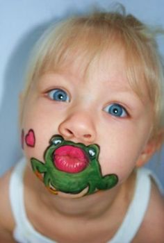 a kiss, paint ideas, face paintings, frog, the face, body paintings, pucker up, facepaint, kid