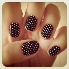 nails. #pmtslouisville #paulmitchellschools #nails #nail #nailart #love #beauty #inspiration #ideas #black #white #polkadots http://www.laurenconrad.com/post/friday-favorites-49