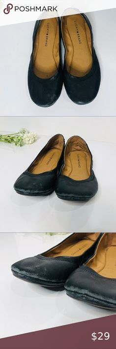 Lucky Brand Black Leather Flats Tie Up Back Lucky Brand Black Leather Flats Tie Up Back Size 8M Scuffs on underside toes as pictured Lucky Brand Shoes Flats & Loafers