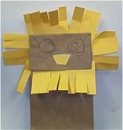 Lleó fet amb bossa de paper. lion storytim, paper bags, lion puppet, bag craft, diy puppet