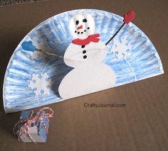 Paper Plate Pop Up Snowman by Crafty Journal #winter