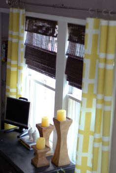 decor, window, color, curtain idea, candle holders, hous, diy curtains, no sew curtains, bedroom