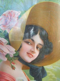FRENCH CHIC PRINT UNDER GLASS BEAUTIFUL LADY HAT PORTRAIT PINK ROSES 19thC CAMPS