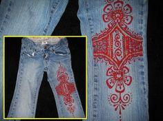 Handmade mehndi-painted jeans on Etsy