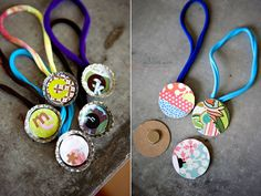 Day 90- Craft time with DIY bottle cap necklaces.