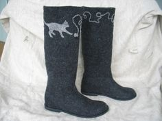 felted boots--with cats on them! $260.00, via etsy.