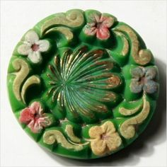Painted Glass Button - Northern Bohemia 1920's