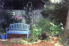 Backyard bird pond, bench & ladders